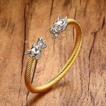 Mens Cuff Bracelets in Gold-color Double Head Dragon Steel Twisted Cable Bangle Bracelet Men Elastic Adjustable Bike Jewelry