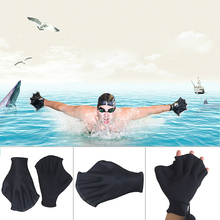 1 Pair Black Sports Swimming Paddle Gloves Hand Webbed Swim Training Diving Equipment Surfing Water Swimming Gloves Free Ship(China)