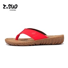 Z. Suo Women's Wedges Flip Flops Ladies Beach Shoes Cowhide Slippers Cow Muscle Outsole Summer Sandals For Women Size:35-39 Red(China)