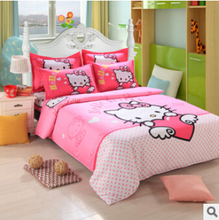 promotional cartoon bedding set 4pcs bed sheet duvet cover pillowcase full & Queen children adults HA036F(China)
