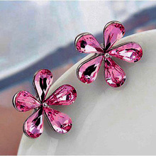 New 2014 Fashion Silver Plated Daisy Flower Stud Earrings For Women Cute Girl Alloys Earings Spring Summer Jewelry