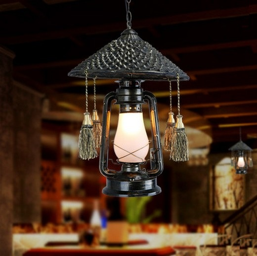 Village Rattan Droplight LED Vintage Pendant Light Fixtures For Dining Room Hanging Lamp Indoor Lighting Kerosene Lantern