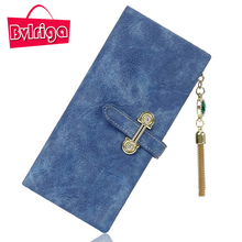 BVLRIGA Long Ladies Leather Wallet Women Wallets And Purses Female Coin Purse Clutches Women Card Holder Walet Money Bag Blue