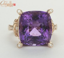 6.35ct Natural Purple Amethyst Solid 14kt Rose Gold Natural Diamond Wedding Ring(China)