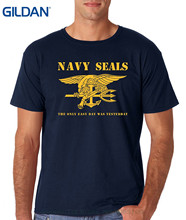GILDAN Man Print T-shirt Hipster Aw Fashion's Navy Seals Logo - The Only Easy Day Was Yesterday Premium Men's T-shirt(China)