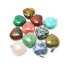 Hot sale 30mm Natural Gem stone pendants Heart Charm Pendant for Jewelry Making BTB720(China)