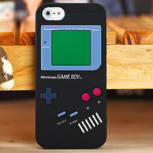 Black 3D Game Boy Gameboy Retro Design Style Soft Silicone Cover For Apple iPhone 5C