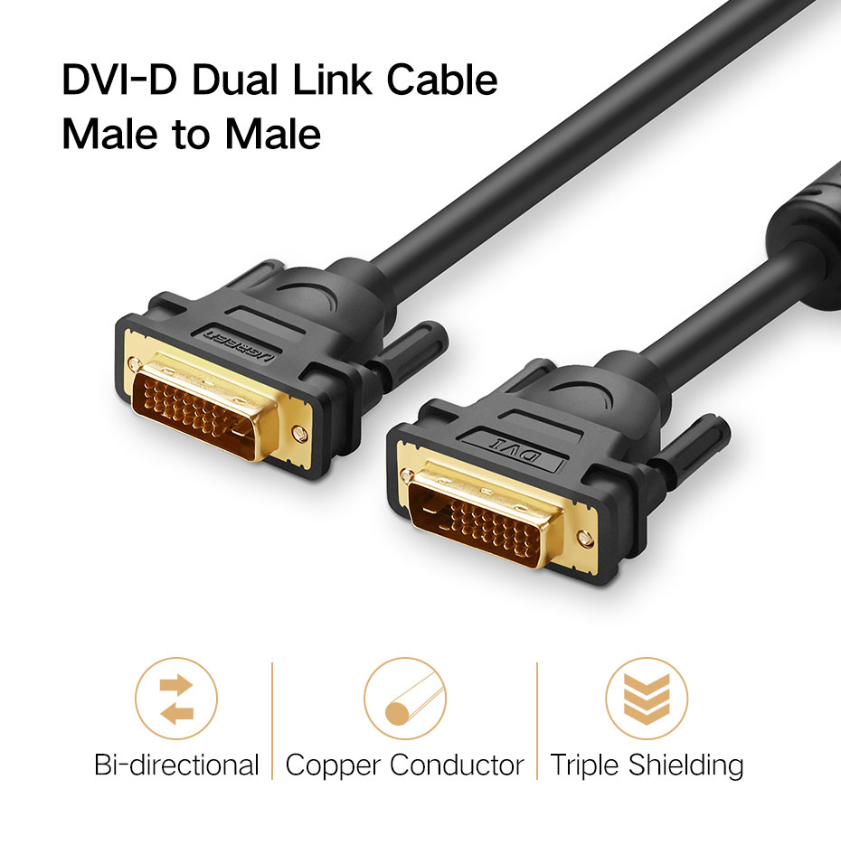 Ugreen DVI I 24+5 Male to VGA HD 15Pin Male Adapter Dual Link Video Cable 1080P