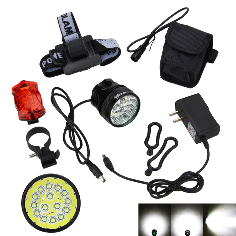 20000Lm 15x XM-L T6 LED 3 Modes Cycling Bicycle Bike Light Headlight Headlamp with 12000mAh Battery and Back Bike Taillight<br>