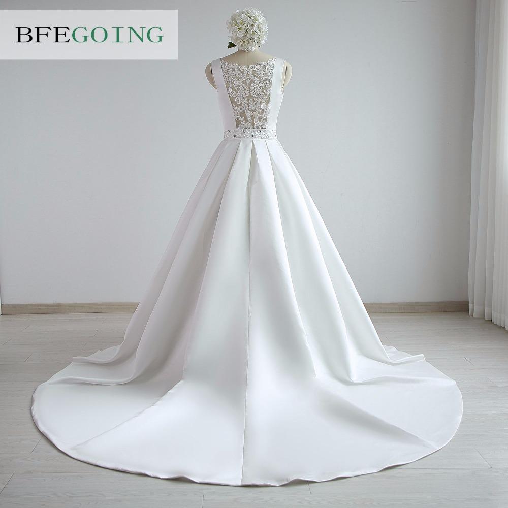 A-line Satin Boat Neck Wedding dress Floor-Length Chapel Train Sleeveless Beading Belt Real/Original Photos Custom made 4