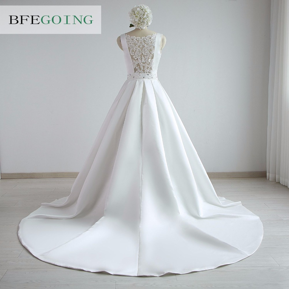 A-line Satin Boat Neck Wedding dress Floor-Length Chapel Train Sleeveless Beading Belt Real/Original Photos Custom made 4