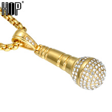HIP Hop Gold Color Titanium Stainless Steel Ice Out Bling Music Stereoscopic Microphone Pendant Necklace for Men Jewelry
