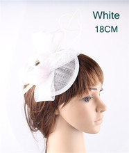 White teardrop bases sinamay top bow fascinators ostrich quill hats for women party church cocktail headwear headbands 17 Colors(China)