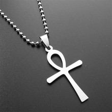 ER Vintage Egyptian Ankh Pendant Necklace Cool Male Cross Necklaces Cheap Mens Stainless Steel Custom Jewelry PN005(China)