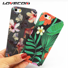 LOVECOM For iPhone 5 5S SE Case Retro Flowers Green Banana Leaf Matte Hard PC Mobile Phone Cases For iPhone5 Back Cover Fundas(China)