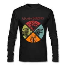 Long Sleeves Game of Thrones Tees Shirt Tall Guy Retro Style T-Shirts O Neck Cheap Branded T Shirt Valentines Day(China)