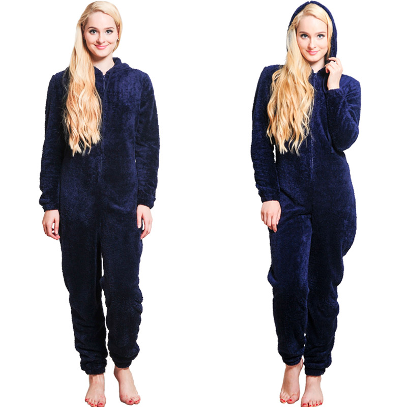 Winter Warm Pajamas, Women's Sleepwear Fleece Pajamas Set, Lounge Hooded Pajamas 9