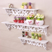 Newest Arrival M Model White Wooden Carved Wall Shelf Display Hanging Rack Storage Rack Home Decor