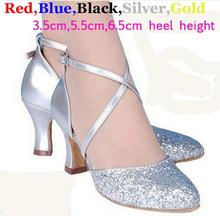 New 2017 5 Colors Sequin Blue Red Black Gold Silver Women Ballroom Tango Salsa Latin Dance Shoes / Cheap Closed Toe Salsa Shoes(China)