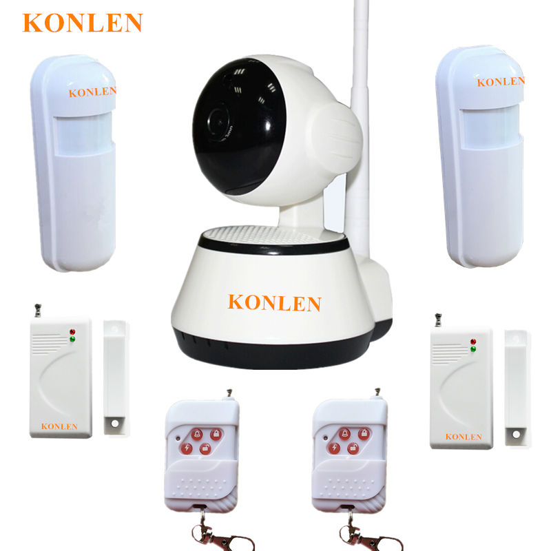 WIFI Alarm Systems Security Home IP Camera Burglar Alarma Video Recording Two Way Audio For House Safety with Wireless Sensors(China)