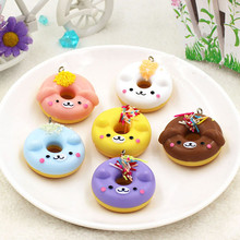 6pcs/lot PVC puppy dog Donut pendant,keychain Artificial Foods toys simulated foods home office bread DIY party decoration gifts