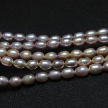 Natural Freshwater 6 *8 mm Rice Shape Purple Pink Mix Color Pearl Beads For Jewelry Making DIY Bracelet Necklace Material(China)