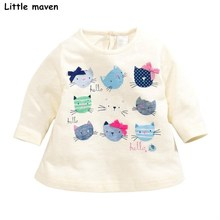 Buy Little maven children brand baby girl clothes 2017 autumn new girls cotton long sleeve O-neck cat print t shirt 50927 for $8.72 in AliExpress store