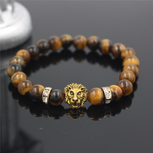 Hot Bead Lion Hed Pulseiras Tom Hope Masculinas Bileklik Natural Tiger Eye Stone Lion Bracelet Men Charm Loki Bracelet ND4263
