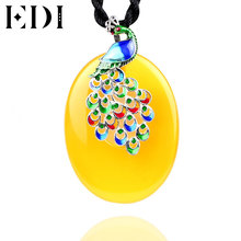 EDI Natural Chalcedony Silver Pendants Necklace Women Peacock Gorjuss Vintage 925 Sterling Silver Cloisonne Jewelry(China)