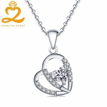 Romantic Women Heart pendant Necklace 100% Solid Silver Rhinestones Topaz Clover Charms Chain Necklace Fine Engagement Jewelry(China)