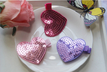 F71 Free shipping sale female baby hair heart love sequined hair clips Flash bead double 6 cm 1pcs Multicolor optional