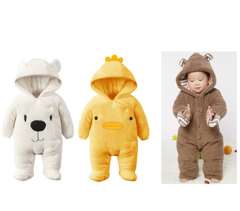 New Arrival !Autumn and Winter Baby Boy&Girl Clothes Newborn Cartoon Animal Outwear Clothing Baby Warm Jumpsuit Free Drop Ship09
