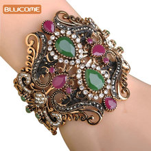 Blucome Vintage Big Elastic Resin Bangles Cuff Bracelets Hand Accessories Turkish Wide Bangle For Women Sculpture Wrist Joyas(China)