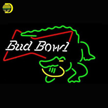 Bud Bowl Alligator Neon Sign SPORT Neon Bulbs Sign Real Glass Tube Handcrafted Decorate LOGO lights signs antique commercial(China)