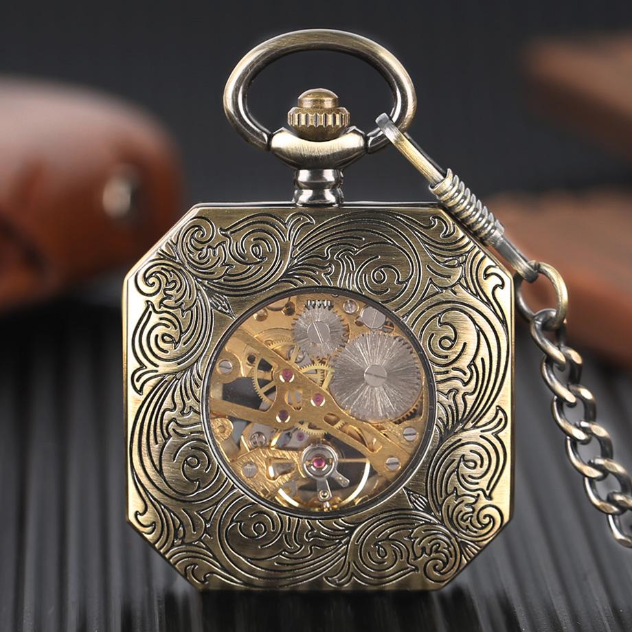 Luxury Bonze Double Tiger Pocket Watch Irregular Red Roman Numbers Mechanical Hand Wind Watches Steampunk Men Unique Clock Gift (2)