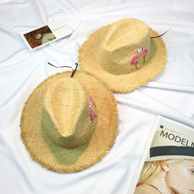 2017 Straw Hats For Women's Female Summer Ladies Wide Brim Panama Handmade Embroidery Flamingo Leisure Raffi Shade Sun Beach Hat