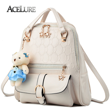 ACELURE Patchwork Backpack 2017 Female Backpack Good Quality PU Leather Shoulder Bag Fashion Travel School Bag For Teenage Girls(China)