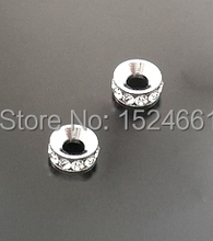 Silver Plated Rhinestone Spacers Beads Findings 8mm *bead caps toggle clasp brooch findings connector charms(China)