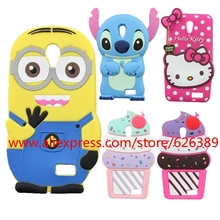 3D Cartoon Minions Stitch Hello Kitty Ice Cream Cupcakes Soft Silicone Cell Phone Cover Case For Lenovo A319(China)