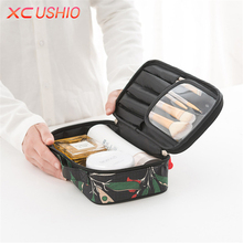 Floral Pattern Tote Waterproof Cosmetic Bag Fashion Travel Makeup Storage Bag Large Capacity Cosmetic Organizer Case