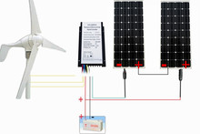 720W Output System: 400W Wind Turbine Generator & 2PCS 160W mono solar panel hybrid(China)