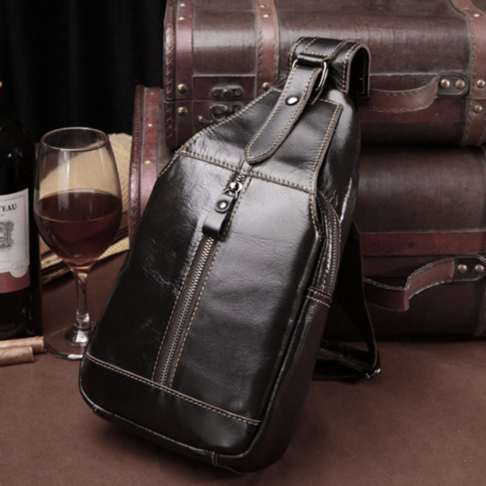 Men Genuine Leather Cowhide Vintage Sling Pack Chest Bag Travel Shoulder Cross Body Messenger Pack<br>
