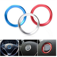 Steering Wheel logo circle Cover chrome Aluminum alloy stickers For BMW X1 X3 X5 X6 E60 E36 E39 E46 E30 E60 E90 E92 F10 F30 F25