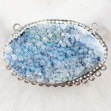 1Pcs Wrapped Blue Titanium Crystal Agates Druzy Quartz Geode Stone Pave Crystal Oval Pendant Bead H06277(Received As Picture)