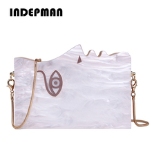New Fashion Designer Human Face Hard Box Evening Bags Wood Patchwork Clutch Purse Chain Shoulder Bag Banquet White Messenger bag(China)