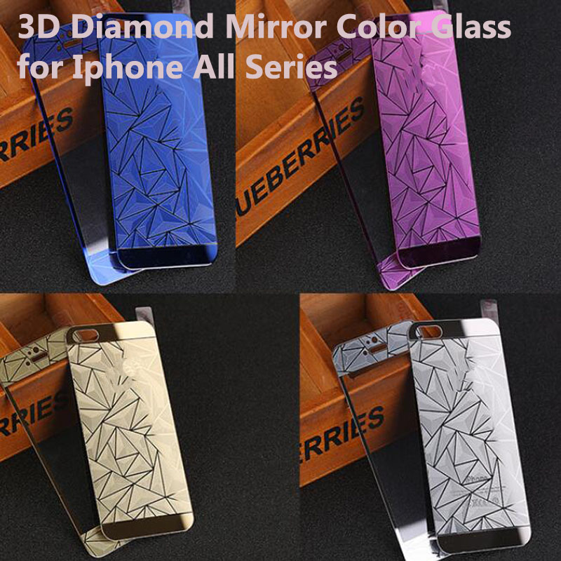 Front Back 3D Diamond Mirror Color Tempered Glass Screen Protector for font b Iphone b font