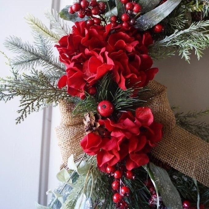 Christmas wreath, Red Rustic Christmas Wreath, Christmas Decoration (2)