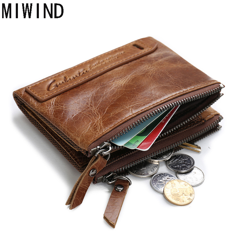 Fashion Men Wallet Genuine Leather  Men Wallets Credit Business Card Holders Double Zipper Cowhide Leather Wallet Purse   GB1007<br>