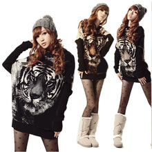 Women Vintage Tiger Printing Batwing Knitted Loose Jumper Pullover Sweater Tops