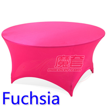 Spandex table cover Fuchsia Colour round lycra stretch table cloth fit 5ft-6ft round wedding hotel banquet and party decoration(China)